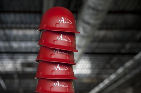 stack of Ahern hard hats